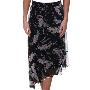 Ralph Lauren skirt asymmetric chiffon black floral